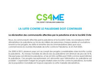 JOURNEE MONDIALE DE LUTTE CONTRE LE PALUDISME 2020 - LA DÉCLARATION CONJOINTE DES OSC