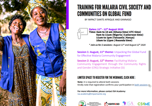 TRAINING FOR MALARIA CIVIL SOCIETY AND COMMUNITIES ON GLOBAL FUND