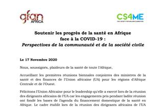DÉCLARATION DES OSC D'AFRIQUE FRANCOPHONE A L'UNION AFRICAINE : SOUTENIR LES PROGRÈS DE LA SANTÉ EN AFRIQUE FACE À LA COVID-19